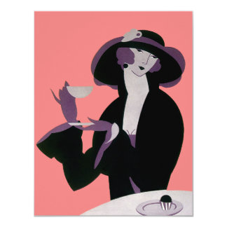 Vintage Art Deco Woman, Afternoon Tea and Cupcake 11 Cm X 14 Cm Invitation Card