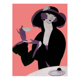 Vintage Art Deco Woman, Afternoon Tea and Cupcake Postcard