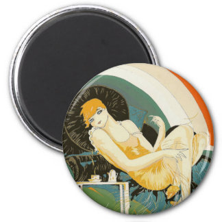 Vintage Art Deco Woman Reclining on Couch, Chompre 6 Cm Round Magnet