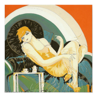 Vintage Art Deco Woman Reclining on Couch, Chompre 13 Cm X 13 Cm Square Invitation Card