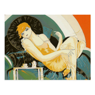 Vintage Art Deco Woman Reclining on Couch, Chompre Postcard