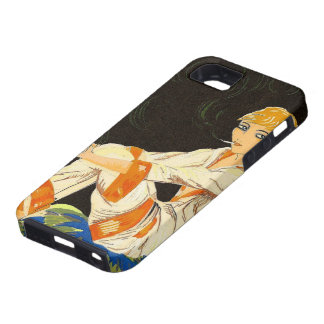 Vintage Art Deco Woman, Smoking by S. Chompre iPhone 5 Case