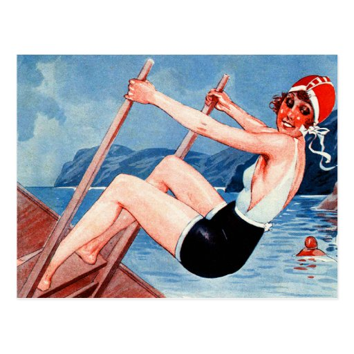 Vintage Art Deco Women Swimmer and Old Man Art Post Cards