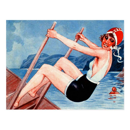 Vintage Art Deco Women Swimmer and Old Man Art Postcard