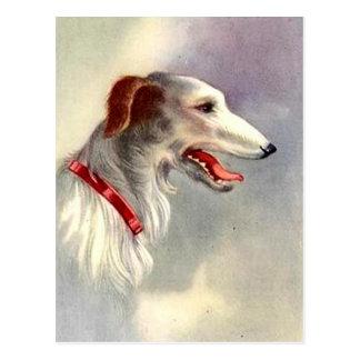 Vintage Art Design Borzoi Dog Postcard