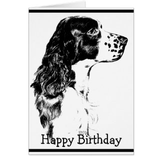 Vintage Art English Springer Spaniel Birthday Card