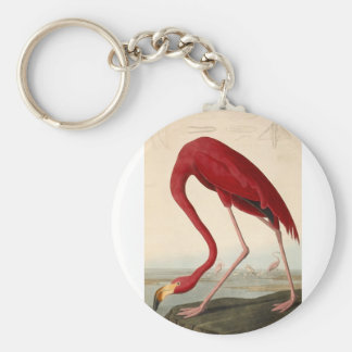 Vintage Art Flamingo Illustration Keychains