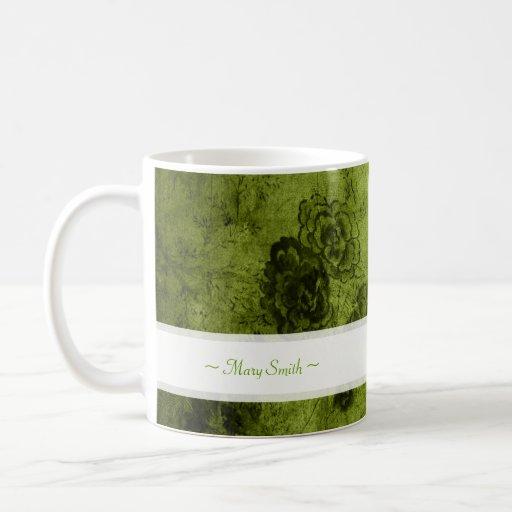 Vintage Art Floral Motive Custom Name Green Coffee Mug
