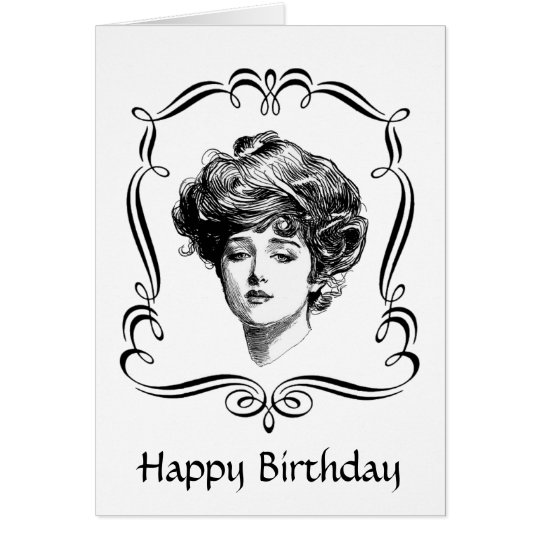 Vintage Art Gibson Girl Birthday Card