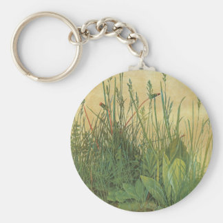 Vintage Art, Great Piece of Turf by Albrecht Durer Basic Round Button Key Ring