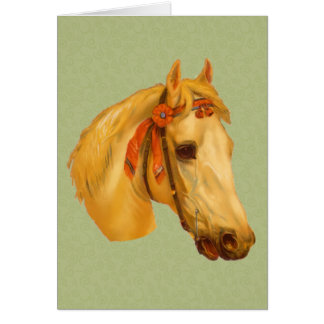 Vintage Art Horse Head Drawing Card