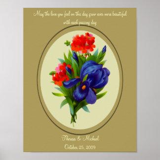 Vintage Art Iris Flower Bouquet Wedding Poster