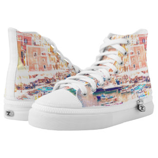 Vintage Art Italy Fishing Harbor High Tops