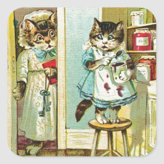 Vintage art Kitten caught stealing Square Stickers