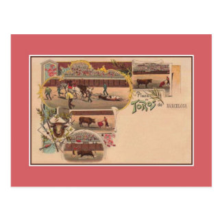 Vintage art litho Bullring Barcelona Postcard