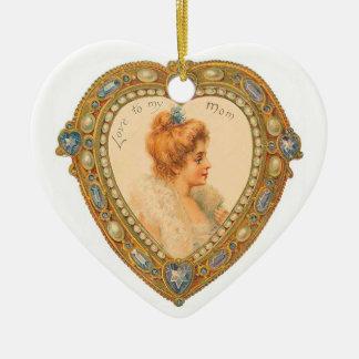 Vintage Art Love Mom Ceramic Heart Decoration