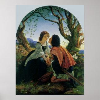 Vintage Art Lovers at Dusk Sir Joseph Noel Paton Posters