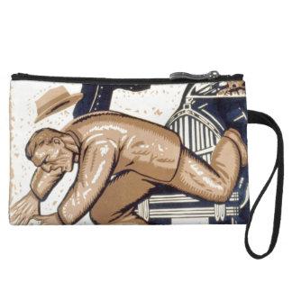 Vintage Art - Man falling Wristlet Clutch