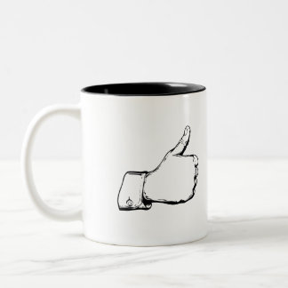 Vintage art mug. Thumb up! Two-Tone Coffee Mug