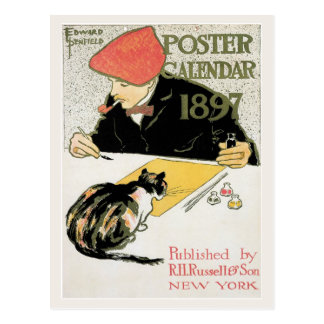 Vintage art nouveau 1897 poster calendar postcard