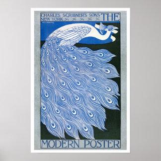 Vintage Art Nouveau Advertising Poster - Peacock