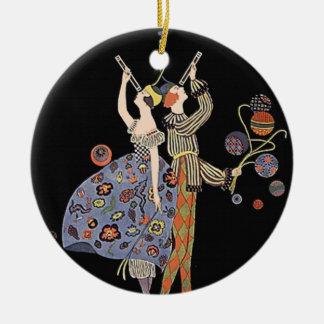 Vintage Art Nouveau Art Deco Holiday Party Round Ceramic Decoration