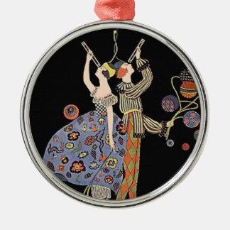 Vintage Art Nouveau Art Deco Holiday Party Silver-Colored Round Decoration