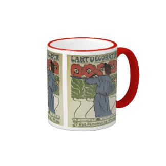 Vintage Art Nouveau, Artist Painting Poppy Flowers Ringer Mug