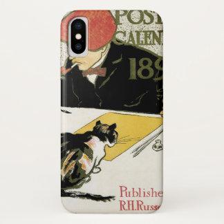 Vintage Art Nouveau, Artist Painting with Pet Cat iPhone X Case