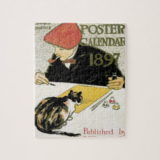 Vintage Art Nouveau, Artist Painting with Pet Cat Jigsaw Puzzle