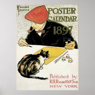 Vintage Art Nouveau, Artist Painting with Pet Cat Poster