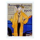 Vintage Art Nouveau automobile calendar 1906 Postcard