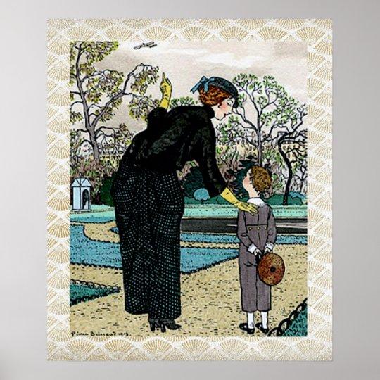 Vintage Art Nouveau Autumn Illustration Poster