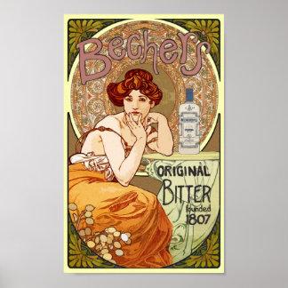 Vintage Art Nouveau Bechers Original Bitter 1807 Poster