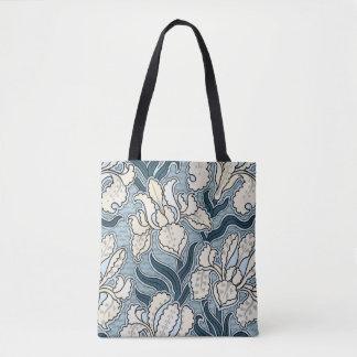 Vintage Art Nouveau, Blue Garden Iris Flowers Tote Bag
