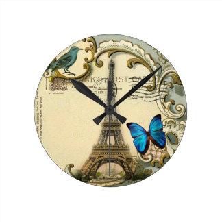 vintage art nouveau blue swirls paris eiffel tower round clock