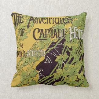 Vintage Art Nouveau Book, Captain Horn Adventures Throw Pillow