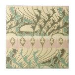 vintage art nouveau botanical art pattern small square tile