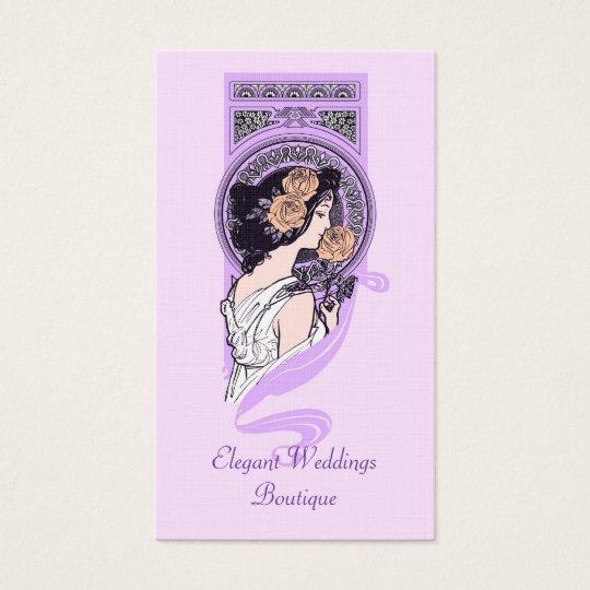 Vintage art nouveau bridal boutique business card