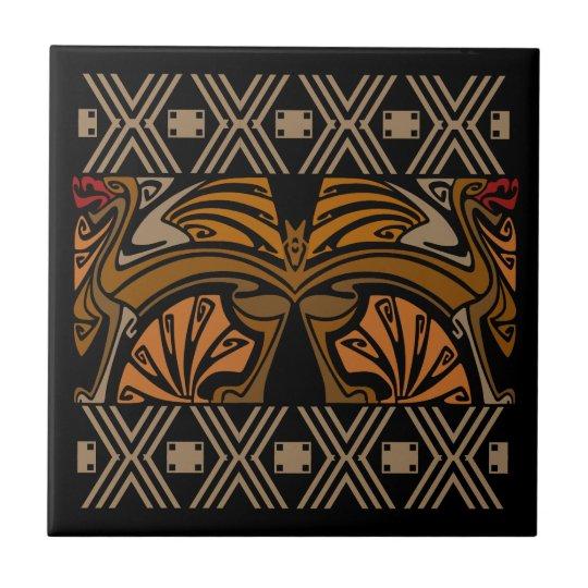 Vintage art nouveau brown dragons tile