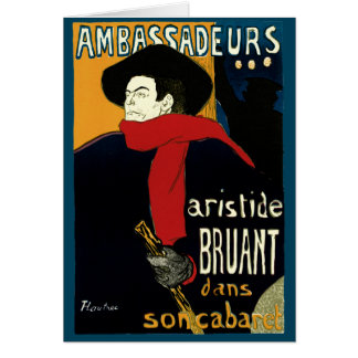Vintage Art Nouveau by Henri de Toulouse Lautrec Greeting Card