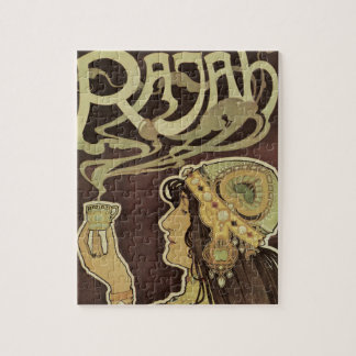 Vintage Art Nouveau Cafe Rajah, Woman Drinking Tea Jigsaw Puzzle