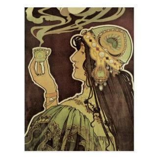 Vintage Art Nouveau Cafe Rajah, Woman Drinking Tea Postcard