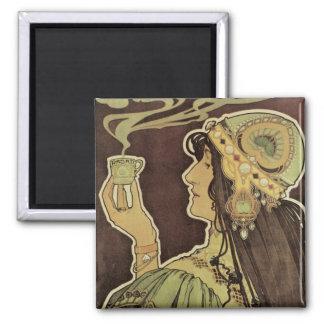 Vintage Art Nouveau Cafe Rajah, Woman Drinking Tea Square Magnet