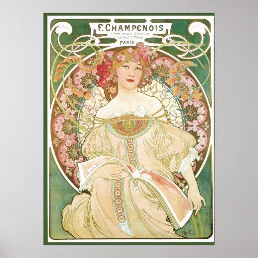 Vintage Art Nouveau; Champenois; Alphonse Mucha Poster