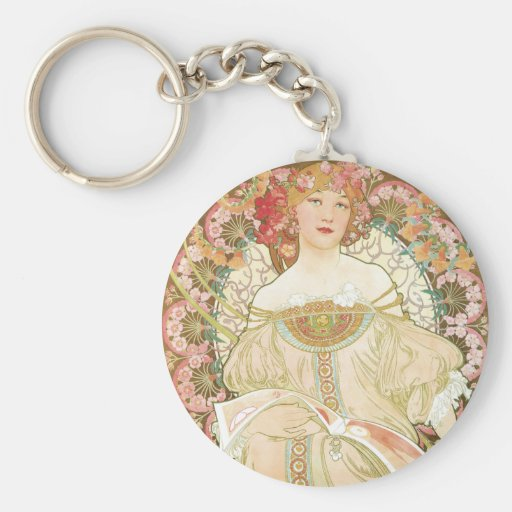 Vintage Art Nouveau, Champenois by Alphonse Mucha Basic Round Button Key Ring
