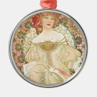 Vintage Art Nouveau, Champenois by Alphonse Mucha Silver-Colored Round Decoration