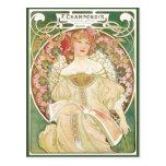 Vintage Art Nouveau, Champenois by Alphonse Mucha Postcard