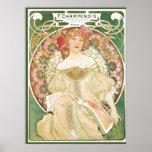 Vintage Art Nouveau, Champenois by Alphonse Mucha Poster