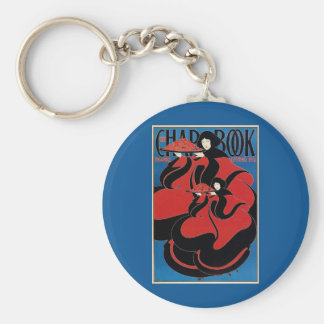 Vintage Art Nouveau Chap Book Thanksgiving Basic Round Button Key Ring